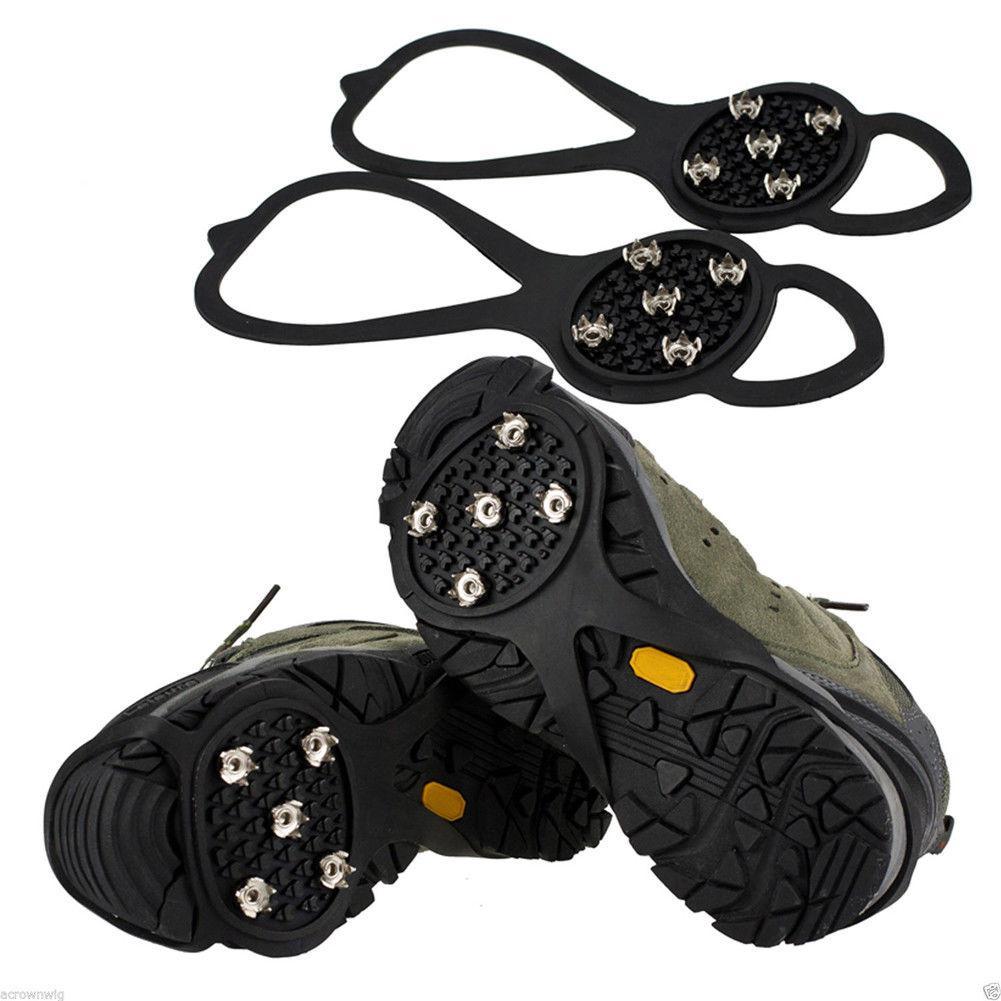 Mounchain Chống Trơn Trượt Tuyết Giày Bao Leo Núi Gai Cầm 5 Răng Crampon Giày Cleats Cho Trượt Tuyết Đường