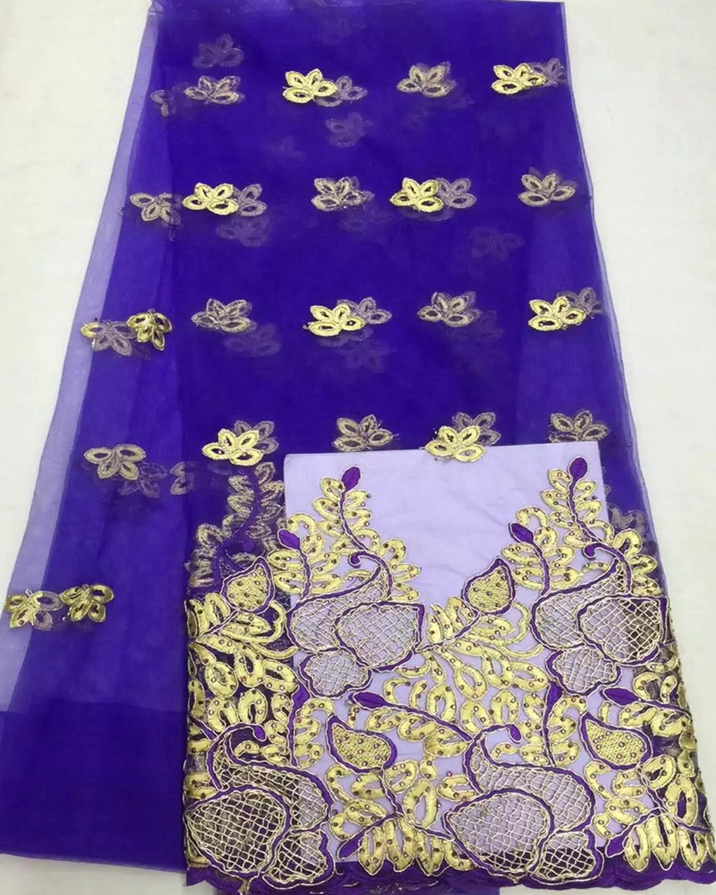 New African net lace fabric material embroider high quality so soft light purple color french lace for wedding party dress
