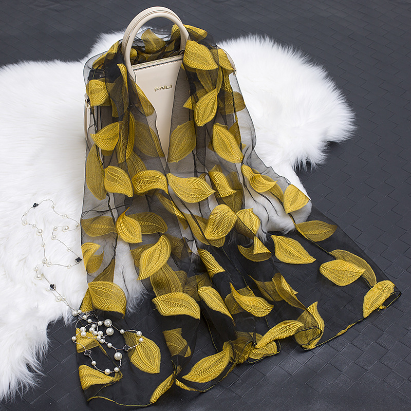 Women Lightweight Organza Gauze Scarf Shawl Long Imitated Silk Scarf Soft Floral Beach Wrap Head Scarfs Stole For Young Woman