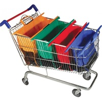 4PCS SET Reusable Trolley Shopping Cart Bags With Insulated Grocery Bag Lining By Modern Day Living