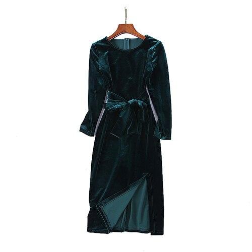 2018 automne de luxe o-cou robes de velours femmes designers à manches longues slim fit de split mi-mollet robe vert pourpre ceintures taille xl