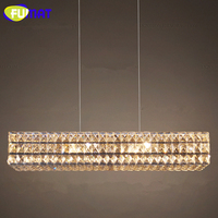 FUMAT Modern Crystal Chandeliers K9 Crystal Lustre Rectangular Chandelier Lights Indoor Lights for Living Room Restaurant Villa
