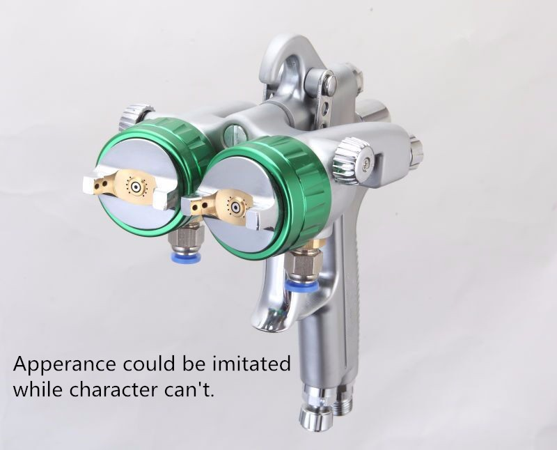 HVLP newest type Double Nozzle Spray Gun Pressure Feed Spray Gun Nano Chrome Paint Sprayer Dual