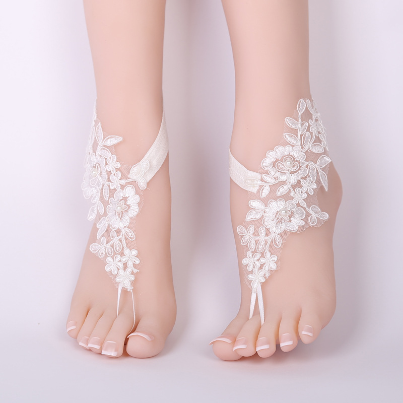 CHICVIE Bridal Summer Crochet Barefoot Sandals Lace Anklets Wedding Prom Party Ankle-Length Women Bare Feet Sandals SAN190061 5
