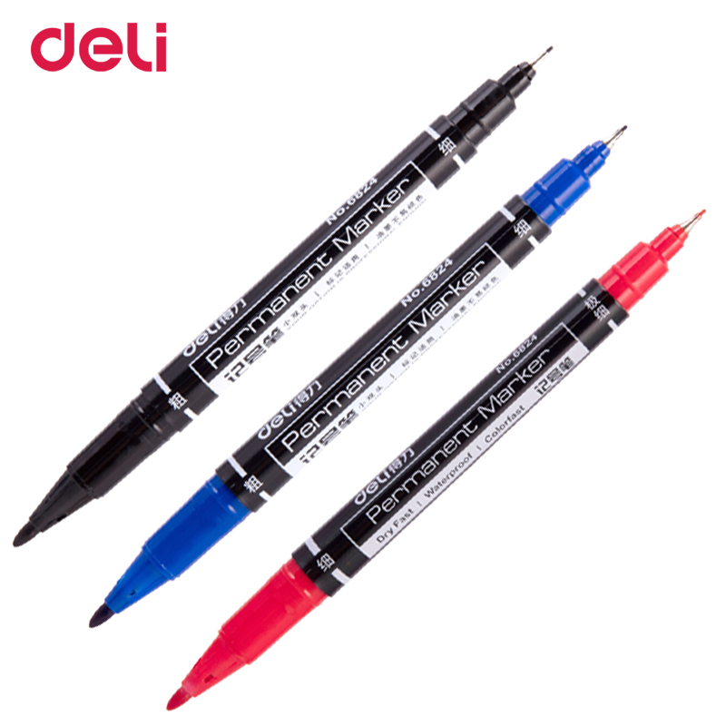 Deli 3pcs Colored Dual Tip Fast Dry Permanent Oil Marker Pens For Fabric Tires Quality Waterproof Fine Point Sharpie For Drawing