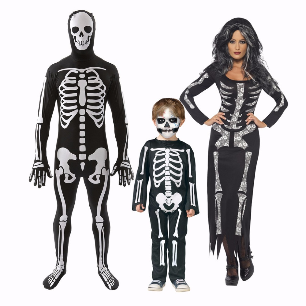 Halloween Skeleton Costume Kids.Adult Men Skeleton Carnival Halloween Party Cosplay Costume Women Fancy Skeleton Black Long Dress Costume Kid Skeleton Costume