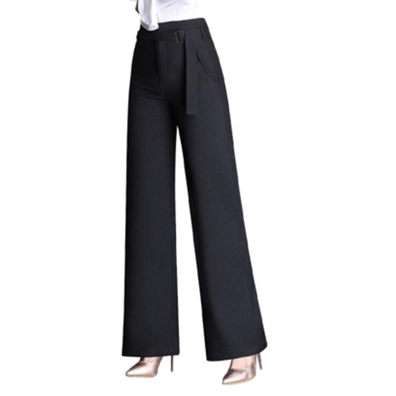 2017 Autumn Plus Size 4XL Fashion High Waist Women Suit Trousers Elegant Wide Leg Pants OL Sashes Formal Carips Brand Designs