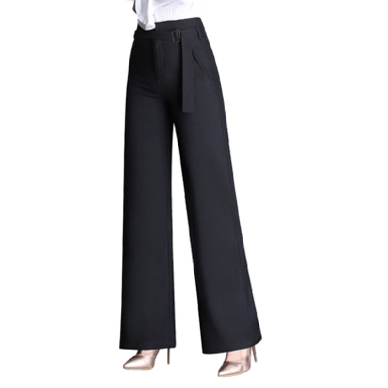 2019 Autumn Plus Size 4XL Fashion High Waist Women Suit Trousers Elegant Wide Leg Pants OL Sashes Formal Carips Brand Designs