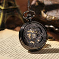 Japan Lucky Beetle Men Watches Black Half Hunter Skeleton Watches Steampunk Pocket Watch Hand Wind Mechanical Pocket Watch