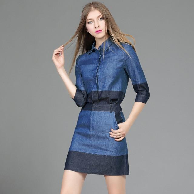 Conjuntos de Saia de moda Primavera Ocasional das Mulheres denim patchwork Tops + Saias Curtas Europa Lady plus size Twinset 2 Peça saia Suits3023