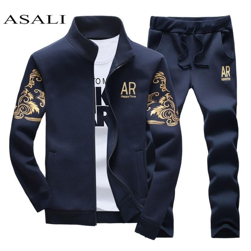 Men Set Autumn Winter Fleece Thicken Sweatshirt Mens Tracksuit +pants Brand Sportswear Man 2pcs Stand Collar Hoodie Jacket