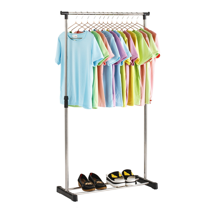 Floor Stand Stainless Steel Drying Rack Single Pole Adjustable Coat Rack Balcony Lifting Hanger Simple Clothes Hanging Rack