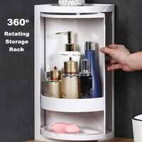 Practical Creative Bathroom Ware Double Layer Rotating Storage Rack Multifunction Cosmetics Holder Kitchen Storage Box Shelf