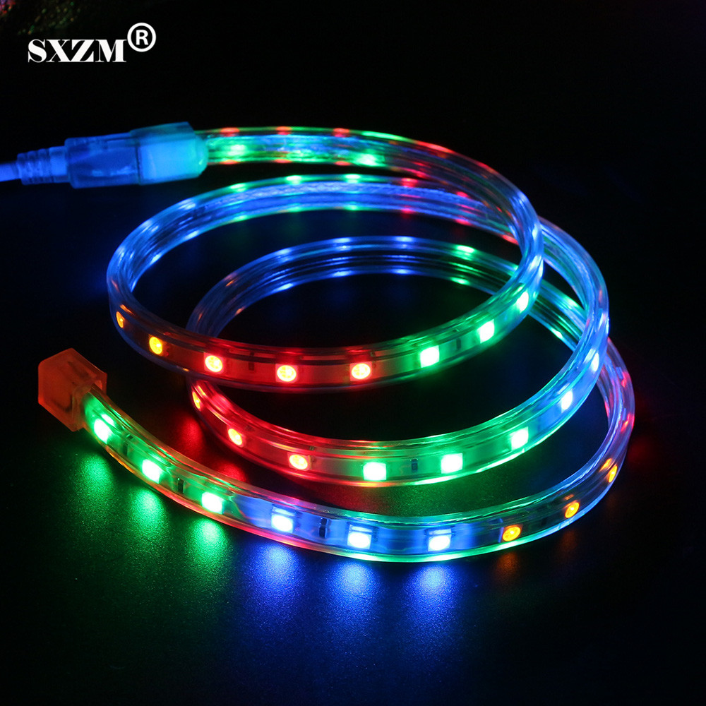SXZM AC220V RGBY IP67 Waterproof 5050 led Strip light 60 leds/Meter with EU plug outdoor led lighting for Stairs,Party ...