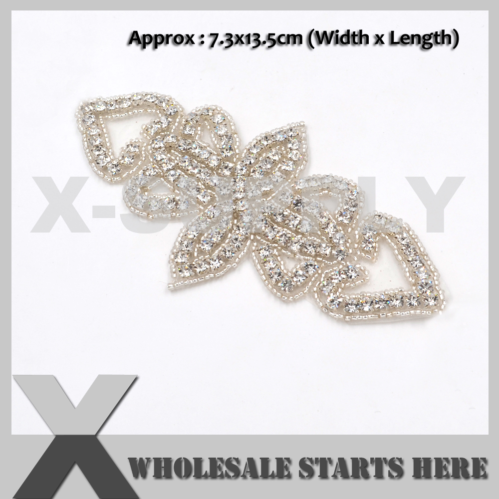 (13cm Length) Butterfly Iron On Clear Rhinestone Pearl Applique Patch for Wedding Dress,Baby Hair Decoration,X1-RAT2516