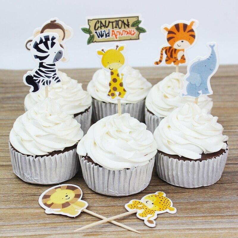 24 հատ / շատ Wild Animal Party cupcake toppers- ը - Տոնական պարագաներ - Լուսանկար 5