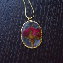 Red Rose Real Flower Resin Gold Color Oval Twig Pendant 925 Sterling Silver Snake Chain Necklace Women Choker Boho Fashion цена в Москве и Питере