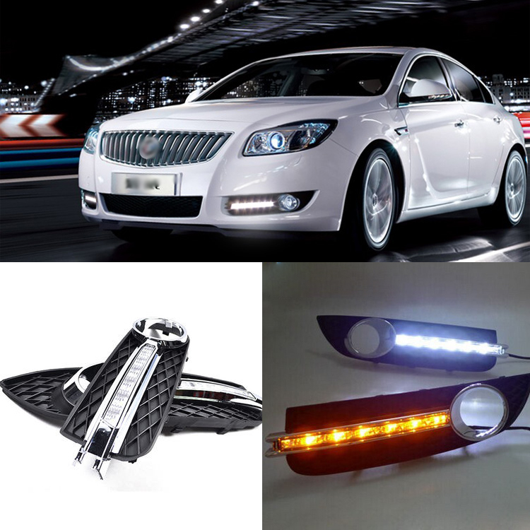 Brand New Updated LED Daytime Running Lights DRL Yellow Turn Signal With Black Fog Light Cover For Buick Regal 2009-2013 brand new updated led daytime running lights drl with black foglights cover for mazda 3 axela 2013 14