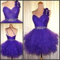 Purple One Shoulder Homecoming Dresses Junior Short Backless Graduation Dress Organza Crystal Mini Length Mezuniyet Elbiseleri