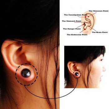1 Pair Black Bio-Magnetic Earrings For Weight Loss Auricular Therapy Fat Burner Products For Health Jewelry Weight Loss Ring