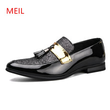 Handmade Pointed Toe Tassel Formal Patent Leather Oxford Shoes for Men Loafers Mens Formal Office Dress Wedding Shoes Men Shoe стоимость