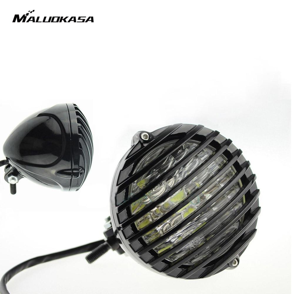 MALUOKASA 1 PCS Motorcycles Finned Grim LED Headlight For Harley Honda Yamaha Suzuki Kawasaki Chopper Bobber Cafe Racer Touring
