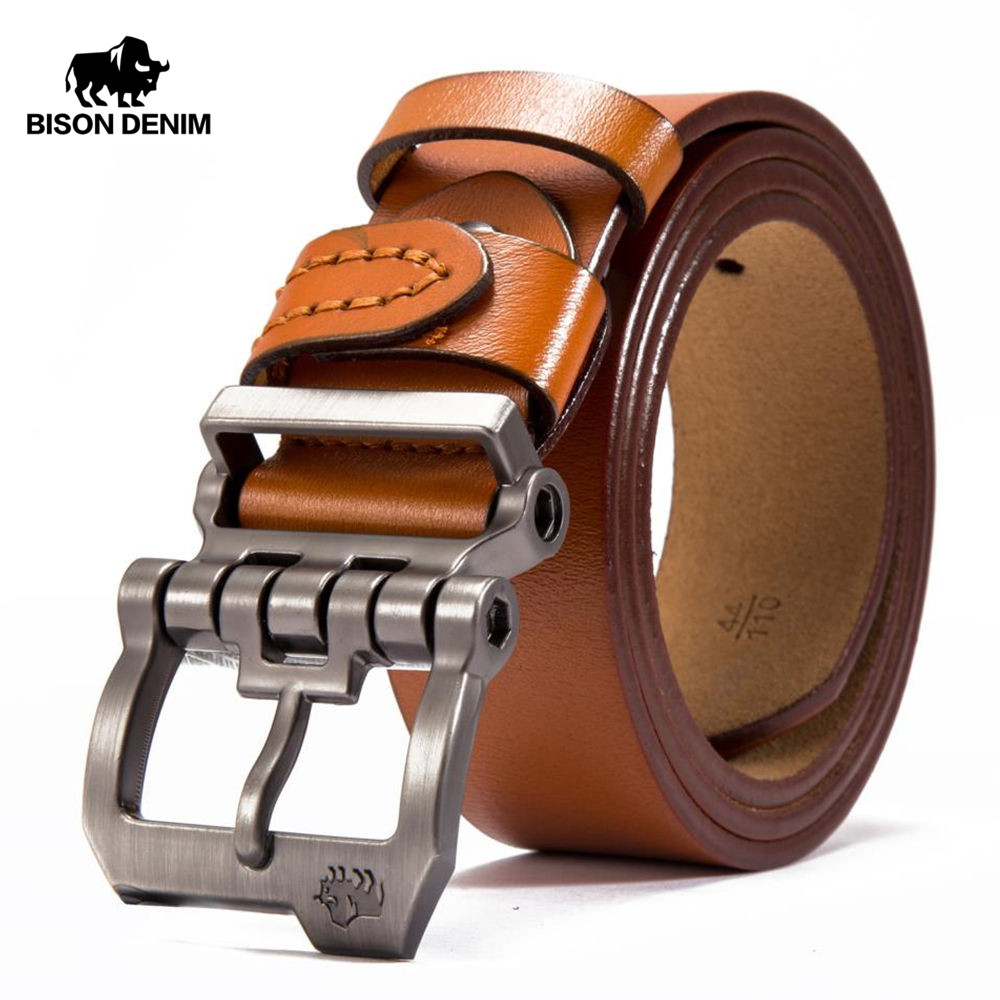 BISON DENIM Brand Belt For Men Cowskin Genuine Lether Pin Buckle High Quality Male Strap Vintage Jeans N71223