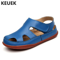 New Children Genuine Leather Boys Sandals Baotou Summer Kids Sandals Beach shoes Student Toddler Baby 041