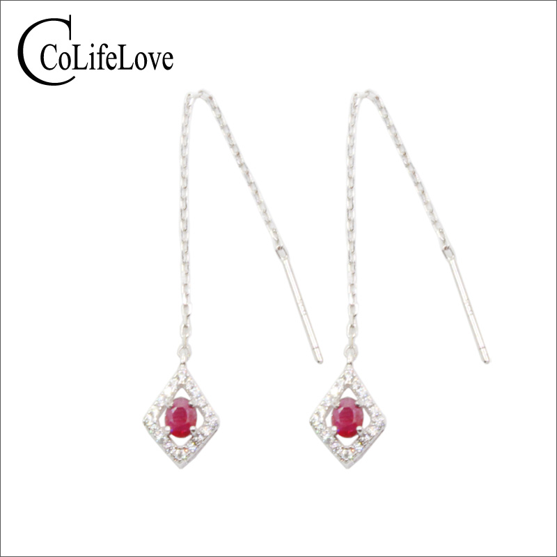 CoLife Jewelry 925 Silver Long Drop Earrings for Young Girl 3mm 4mm Natural Ruby Silver Earrings