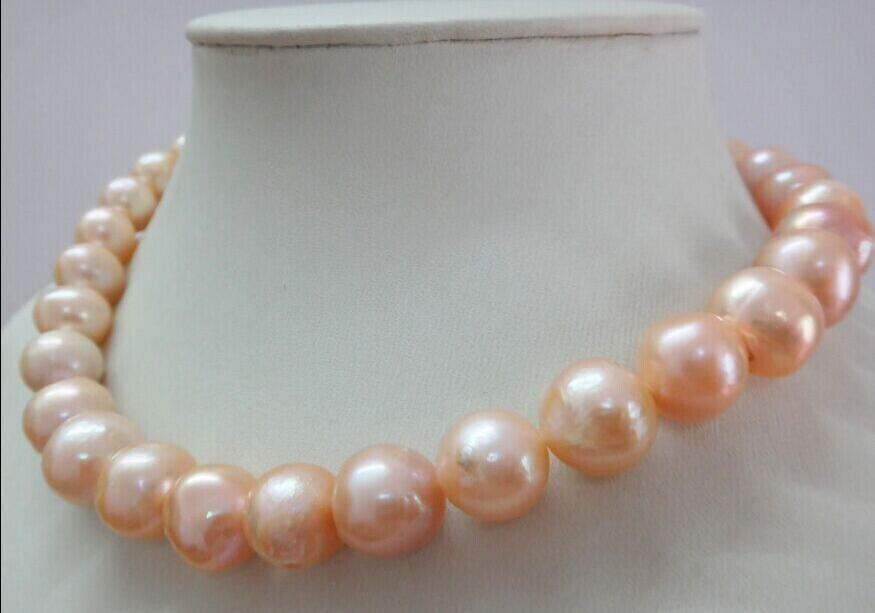 charming 11-12mm south sea gold pink natural pearl necklace 18 >free shipping