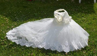 Hot 2017 Retail Girl Dresses Children Dress Party Summer Princess Baby Girl Wedding Dress Birthday Big Bow white long tailing