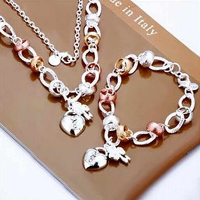 Brazilian style Factory price High quality Silver Plated & Stamped 925 Charm Set Silver heart Lock Necklace Bracelet