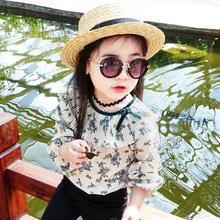 Kids's clothes feminine youngster primary shirt 2017 spring and autumn chiffon shirt youngster spring child long-sleeve T-shirt 2T-7T