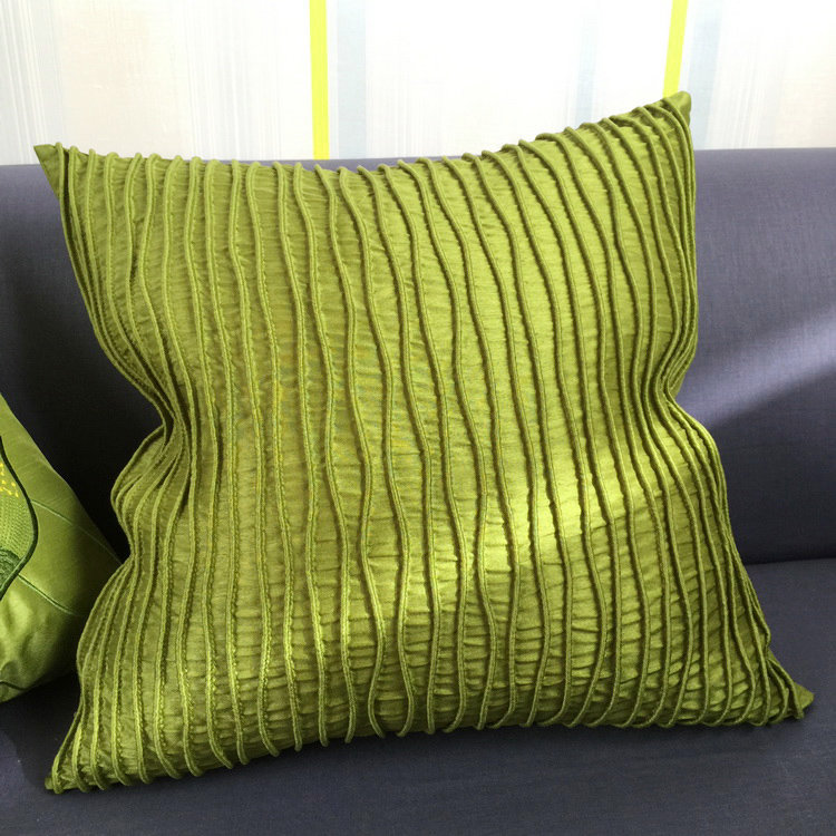 Modern Quality Fashion Handmade Decorative Wave Stripe Geometry Piping Faux Silk Sofa 3D Cushion Cover Throw Pillow Cover Case