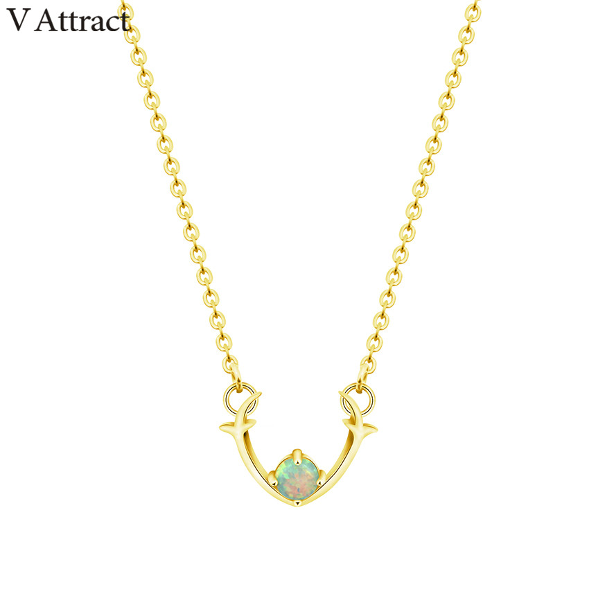 V Attract 2018 Animal Jewelry Unique Deer Antler Necklace Minimalism Fashion Women Accessories Green Opal Statement Necklace image