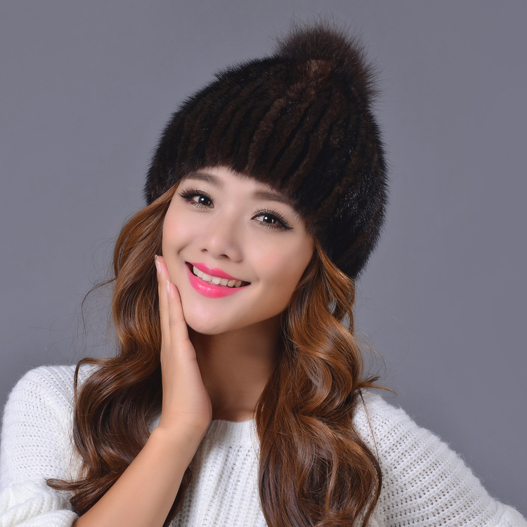 Dreamtach new arrivals Winter Women Mink fur cap  Lady hat fashion Elastic force black hat Beanies Headgear