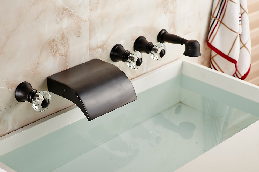 Oil Rubbed Bronze Bathroom Tub Faucet 3 Crystal Handle W/ Hand Shower Wall Mount