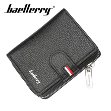 Baellerry Men Classic Short Wallet Zipper Hasp PU Leather Solid Wallet Coin Pocket Card Holder Photo Holder Wallet Porta Men Bag baellerry men solid black long wallet pu leather zipper n rope wallet coin pocket card holder photo holder business wallet men