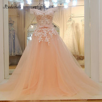 modabelle Peach A line Formal Evening Dresses Gown Robe De Soiree 2018 Sweetheart Long Prom Dresses Elegant Vestidos Longos