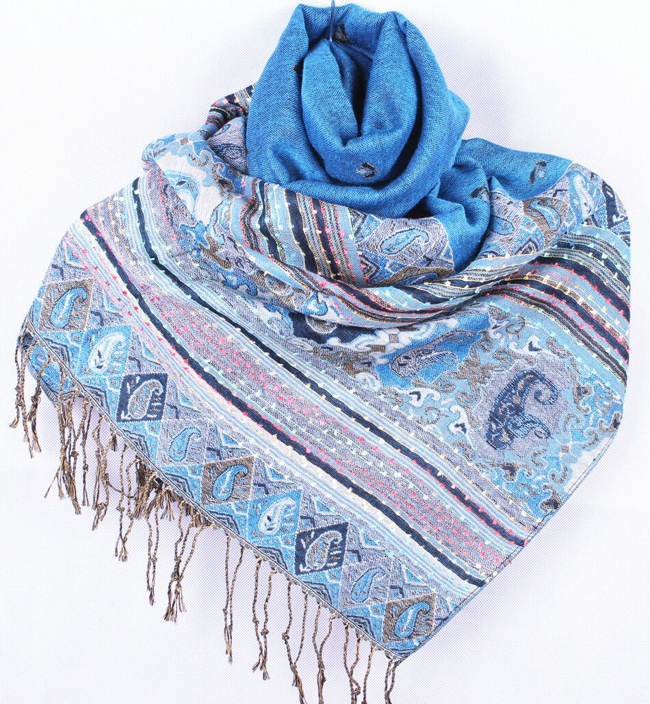Livraison gratuite bleu clair femmes châle réversible double - Face Pashmina  écharpe de châle de soie Honeybee WSA26 9f7e6ebf1f0