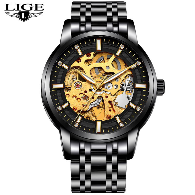 LIGE Men's Watches Top Luxury Brands Men Business Automation Mechanical Watch Waterproof Leather Watchs Military Male Clock +Box men watch top luxury brand lige men s mechanical watches business fashion casual waterproof stainless steel military male clock