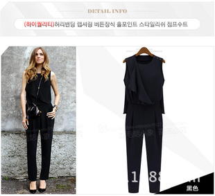 Free shipping The new 2015 falbala stitching pressure plait jumpsuits Big yards loose sleeveless trousers black and bule