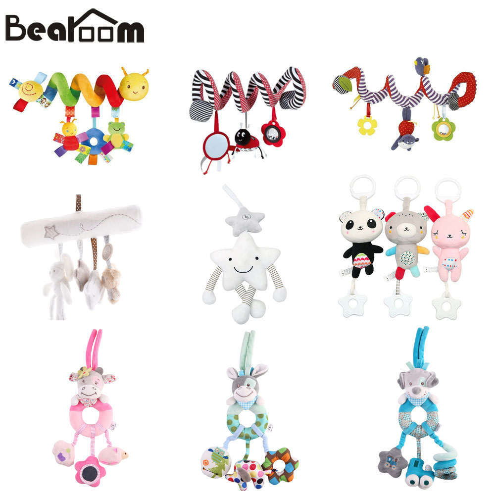 Baroom Rattles Stroller Toy Cute Mobile Baby Toys Musical Stroller Doll Soft Handing Bell Crib Rattles Toddler Learning Resource