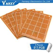 5 шт. 5x7 см 5*7 прототип бумага Медь PCB Универсальный Эксперимент Матрица платы