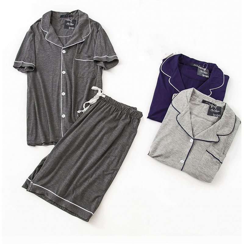 Suit Sleepwear Pajama-Sets Male Men's Plus-Size Summer Casual Solid Viscose Shirt Loosen