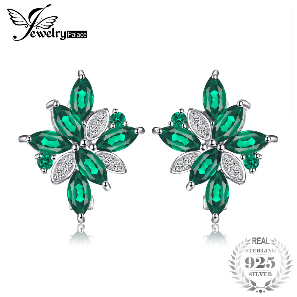 JewelryPalace Flower 2.5ct Green Created Emerald Clip Earrings Solid 925 Sterling Silver Fine Jewelry For Women Fashion Earrings