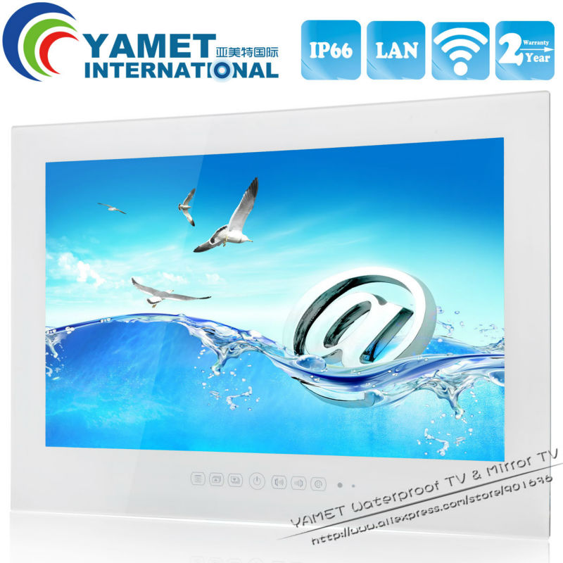 Free shipping 15 6 inch Android 4 2 Waterproof LED TV WiFi Bathroom TV Black White