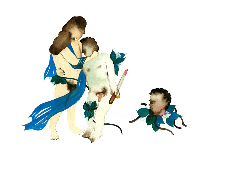 Chinese Artist Shi Yin's Work Oedipus Complex Watercolor Painting Fine Art Hand Painted Wall Art European Posters Kitchen