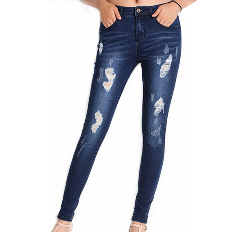 Women's Slim Dark Blue Skinny Distressed Washed Hole Ripped Mid Waist Jeans Pencil Pants