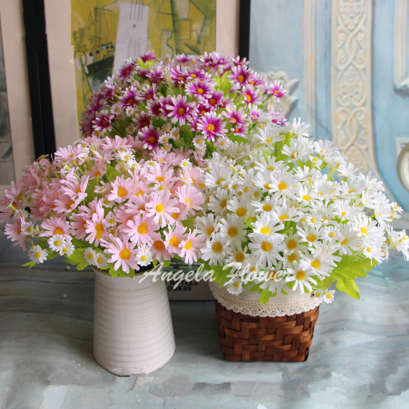 Spring colorful silk daisy artificial flower for wedding for Artificial flowers for wedding decoration